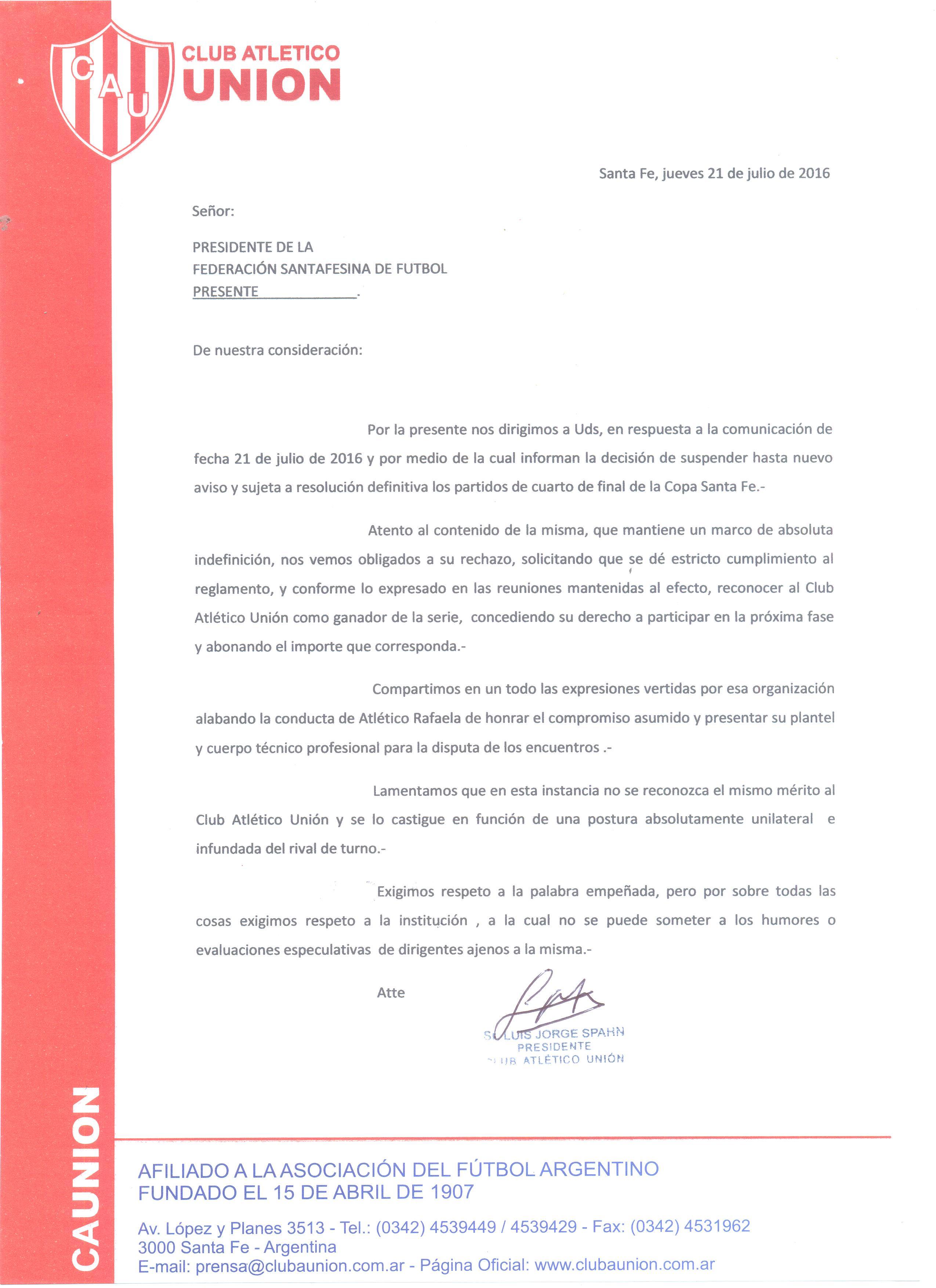 Notificiación a la Federación Santafesina de Fútbol 001